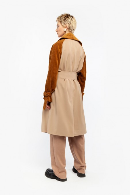 TRENCH OVER WITH VELVET SLEEVES