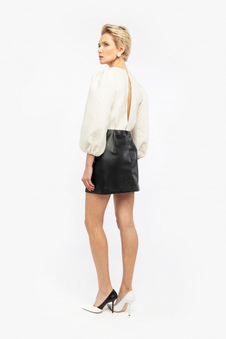 SHORT DRESS WITH FAUX LEATHER SKIRT