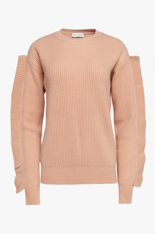 ROUND NECK SWEATER WITH RUFFLES