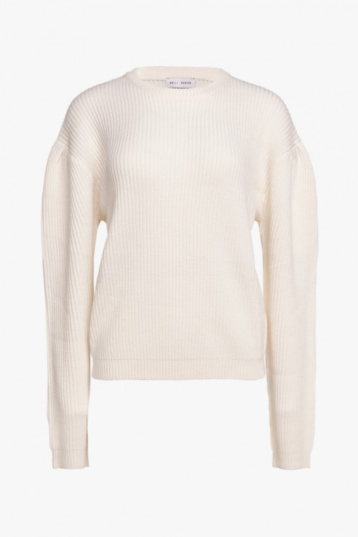 CREW NECK SWEATER WITH PUFF SLEEVES