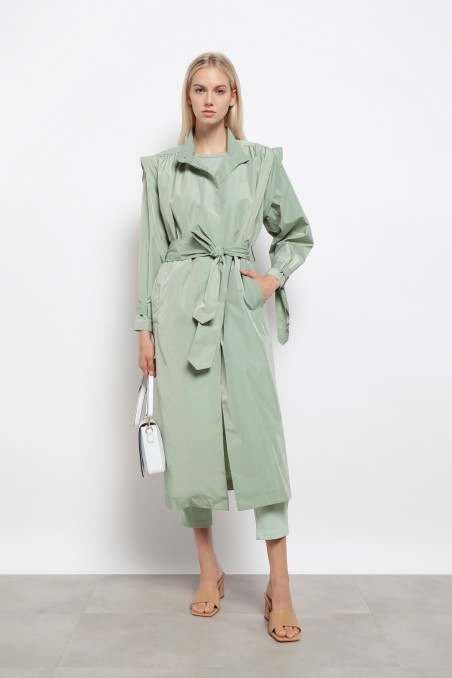 Military trench coat with high collar