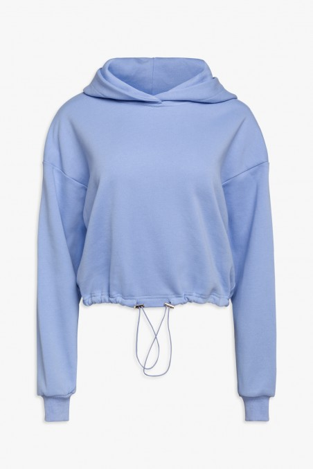 Sweatshirt with hood and drawstring at the waist