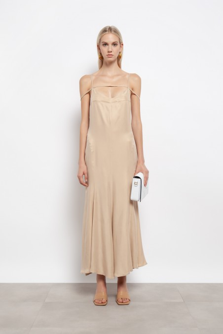Long dress with straps and full skirt