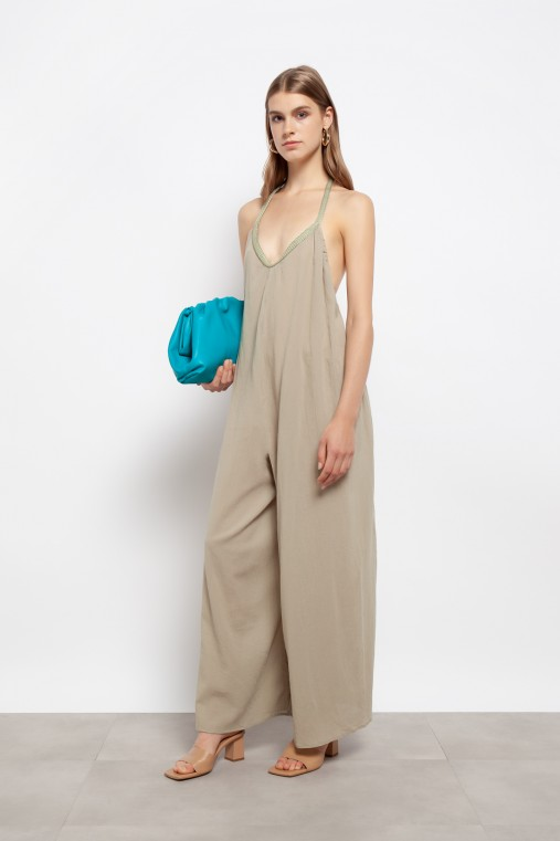 Long maxi jumpsuit with open back
