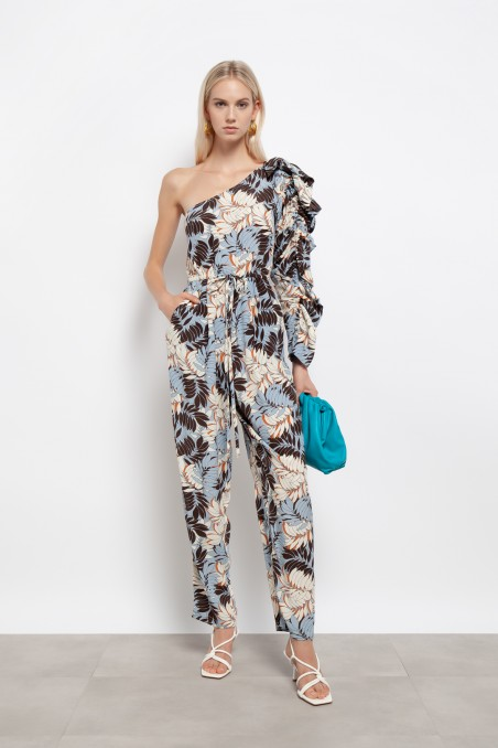 One-shoulder jumpsuit with gathered sleeves