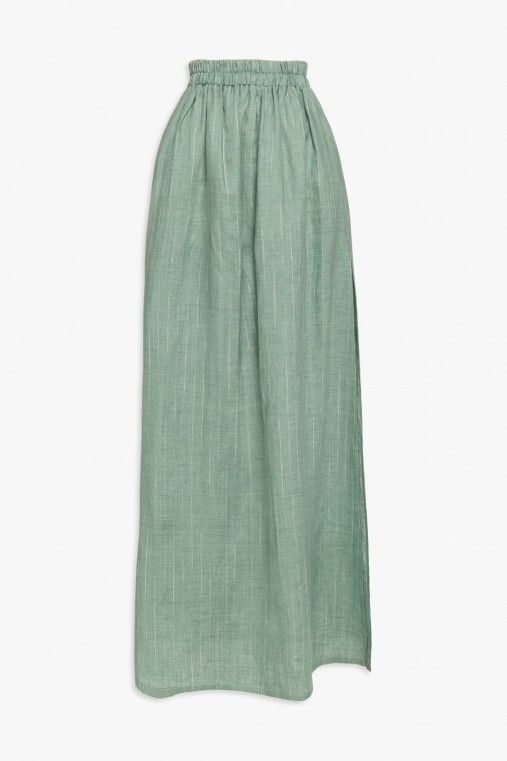 Long pinstripe linen skirt with slit