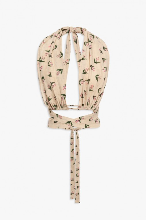 Top with flower print laces