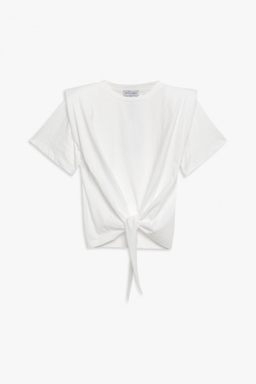 T-shirt with shoulder pads and knot