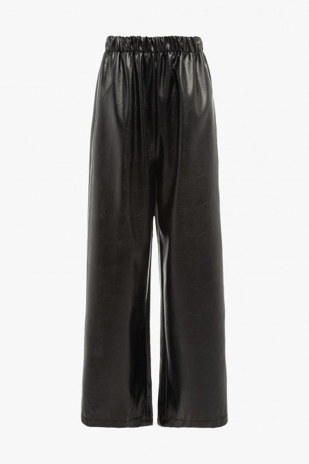 PRINTED FAUX LEATHER PAJAMA PANTS