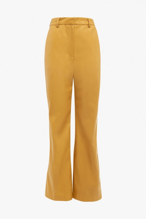 FAUX LEATHER FLARE TROUSERS